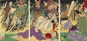 This is a depiction from the mid-Meiji Period (1880s) of Taira-no-Kiyomori being consumed in hellfire upon his death.