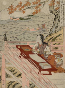 According to (a probably untrue) legend, Murasaki Shikibu was inspired to write the Tale of Genji while gazing towards the moon during a visit to a temple. This is an artist's representation of that event from the Edo Period, about 800 years after the fact.