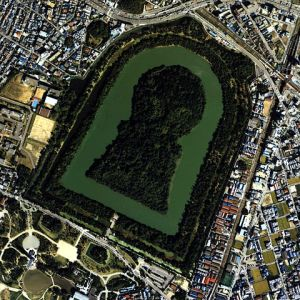 This is the Daisen Kofun, the largest kofun in Japan. It is located in the port city of Sakai in modern Osaka prefecture.