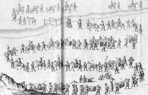 This is a sketch by Englebert Kaempfer of a daimyo's procession going to Edo. Kaempfer, as head of the Dutch mission in Nagasaki, would have to go to Edo on a semi-regular basis in a similar procession (much like a daimyo would).
