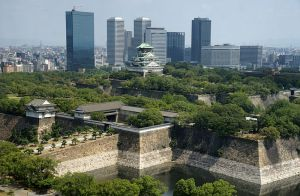 Osaka castle was home to the Toyotomi family until their death in 1615, when it was re appropriated by the Tokugawa. The original castle was destroyed by the United States during a bombing run in World War 2 (it was being used for weapons storage). The construction in this image is a 1/3 scale replica.