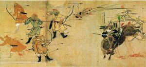 This image dates from the second Mongol invasion. On the left are a group of Mongol warriors; on the right is a charging samurai identified as Suenaga.