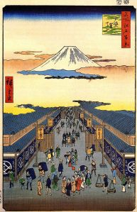 This is an Edo-period depiction of Sugura street. It should give you some idea of what the merchant-dominated markets of the Edo period looked like.