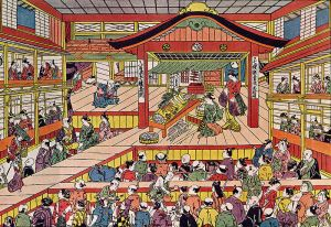 An Edo kabuki performance in the Kabukiza theater. Note the actor moving up the hanamichi on the left side. This should give you an idea of how close kabuki actors got to their audiences.