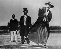 The first pitch at the inaugural Japan High School Baseball Tournament in 1915. Only tangentially relevant, but I do love those outfits.