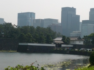 A view of Sakurada Gate from the west -- behind the gate are the skyscrapers of central Tokyo from whence, after World War II, General Douglas MacArthur ran the American occupation forces.
