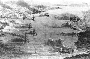 The 1863 British bombardment of Kagoshima, as depicted by Le Monde. This event was one of the blows which led to the collapse of the original Sonno Joi movement and its eventual revival as a purely Emperor-focused anti-Tokugawa movement.