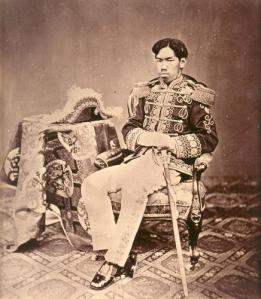 Emperor Meiji in the uniform of a Field Marshall of the Army, from the late 1870s.