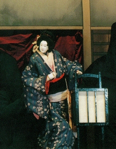 This is an example of a puppet used in a bunraku show.