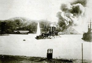 The siege of Port Arthur, one of the more decisive battles of the Russo-Japanese War. Japan eventually took the port city, but at tremendous cost in soldiers. This picture shows the results of a bombardment by Japanese ships blockading the port.