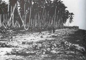 Japanese casualties (in the foreground) and American troops (in the background) during the Battle of Guadalcanal in 1942. Guadalcanal would mark the first time the Japanese were forced to fall back in the face of the Allied advance. It would not be the last.