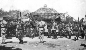 The funeral procession of Yuan Shikai, leader of China after the overthrow of the Qing Dynasty. His death resulted in chaos in China, a situation the Japanese exploited to their advantage.