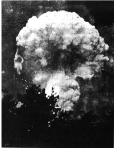 The mushroom cloud over Hiroshima, approx. 7 km away from the center of the blast.