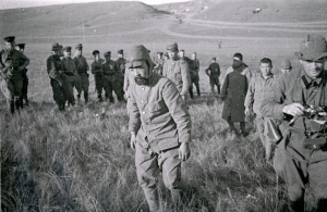 A captured Japanese soldier surrounded by Soviet Troops in the wake of the Battle of Nomonhan (Khalkhin Gol) in 1939. The defeat of the Japanese Army by the Soviets helped drive the momentum towards an attack on the western Allies rather than the Soviets.