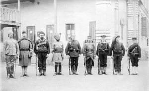 A side-by-side image of the soldiers of each country which intervened in the Boxer Rebellion in 1900. From left to right: Britain, the US, Australia, British India, Germany, France, Austria-Hungary, Russia, Japan