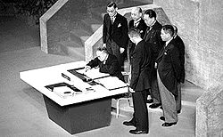 Japanese Prime Minister Yoshida Shigeru signs the Treaty of San Francisco in 1952, formally ending World War II as well as the Occupation.