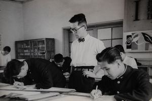 A high school exam in Kanagawa Prefecture in the 1950s. Exams (particularly university entrance exams) became one of the most important factors in determining future success.