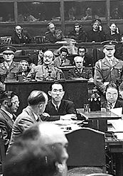 Tojo Hideki, center, as a defendant in the Tokyo War Crimes Trials.