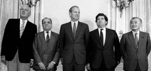 The five men who negotiated the Plaza Accord in 1985. From left to right they are Gerhard Stoltenberg (German Federal Republic), Pierre Bérégovoy (France), James A. Baker III (United States), Nigel Lawson (United Kingdom), and Takeshita Noboru (Japan).