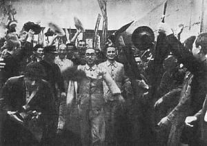 Members of the Japanese Communist Party being released from prison after the end of the war. Their elation would be short-lived, as by 1947 the Occupation government began clamping down on Marxist groups.