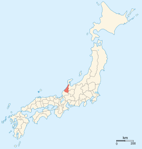 The province of Kaga, one of the Ikko Ikki strongholds, is marked in red. To its left is the province of Etchu; to the right Echizen. This area was one of the hotbeds of Ikko Ikki activity.