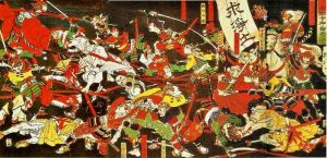 The Battle of Azukizaka in 1564, part of Tokugawa Ieyasu's campaign against the Ikko Ikki in his province of Mikawa.