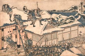 The 47 Ronin storm the home of Lord Kira, by Katsushika Hokusai.