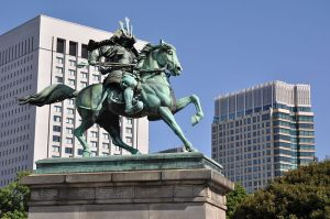 Kusunoki Masahige, the famous warrior who was loyal to his Emperor to the last. This statue is in the open part of the Tokyo Imperial Palace, as Masahige became something of a popular touchstone for Imperial loyalty after the Meiji Restoration.