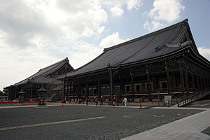 Nishi Honganji in Kyoto, the rebuilt (and current) headquarters of Jodo Shinshu. The temple was built with the blessing of Toyotomi Hideyoshi, in exchange for the aid given by Kennyo and the Ikko Ikki during his bid for power.