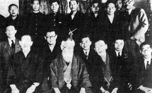 Kodama Yoshio (second from right, first row) was a yakuza, a backer of Tanaka, a participant in the Lockheed Scandal, and a former indicted war criminal and member of the Gen'yosha, an ultranationalist society.