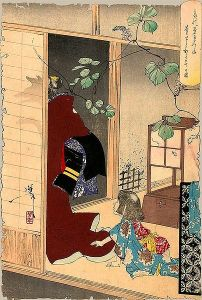 An Edo-era print by the artist Yoshitoshi depicting one of the legends of Seimei's life. In this image, Seimei's mother is leaving him, and is revealed to be the fox spirit Kuzunoha. Kuzunoha would, according to legend, later impart Seimei with some of her power.