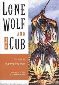 A cover of the English translation of Kozure Okami (Lone Wolf and Cub), featuring the protagonist Ogami Itto. Courtesy of Dark Horse Publishing.