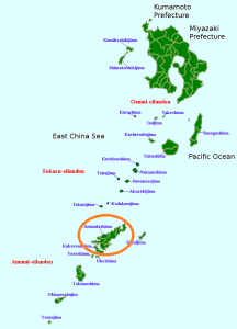 Kagoshima prefecture and the islands to its southwest. Amami Oshima, where Saigo was exiled, is circled in red.