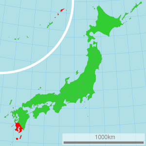 A map of Japan with Kagoshima prefecture highlighted. Kagoshima prefecture's modern boundaries correspond roughly to those of the old Satsuma domain.