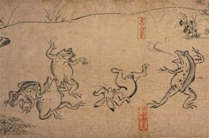 A scene from the Choju Jinbutsu Giga depicting animals wrestling. Courtesy of the Wikimedia Foundation.