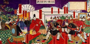 The Seikanron debates, or the 1874 debates on the invasion of Korea. Saigo is shown on the center right, directly to the right of Iwakura Tomomi (who is wearing the traditional robes of a kuge aristocrat).