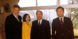 Ozawa Ichiro (far right) standing next to Tanaka Kakuei. Kakuei would serve as his mentor until 1985, when Ozawa would betray him and split off into a new faction of the LDP. Courtesy of the Wikimedia Foundation.