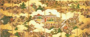 This image depicts a series of battles from the Genpei War (rather than one single scene). Moving from right to left, it chronicles a series of Minamoto triumphs which turned the war decisively in their favor.
