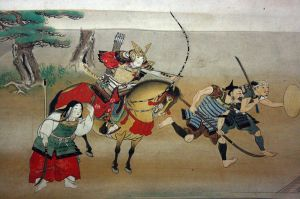 A contemporary depiction of Sengoku warfare. Note the wide variety of weaponry used. Courtesy of the Wikimedia Foundation.