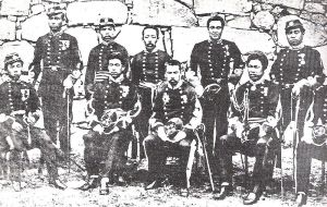 Soldiers  of the Imperial Japanese Army in the Kumamoto Garrison in 1877. The Kumamoto Garrison resisted Saigo's advance, buying time for the rest of the IJA to assemble and counterattack.