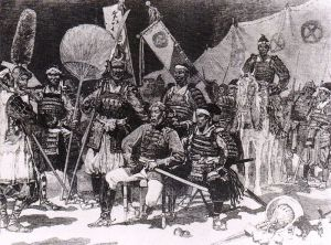 Saigo Takamori and his officers in traditional dress, as depicted by the French Le Monde Illustre.