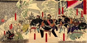 Saigo and his companions on the advance. Note the Western style military uniforms.