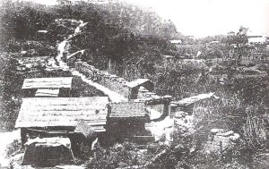 A contemporary photograph of the fortifications surrounding Shiroyama erected by the Imperial Japanese Army. The fortifications were designed to prevent Saigo from escaping, but he was able to do so anyway and flee south to Kagoshima for a final battle.