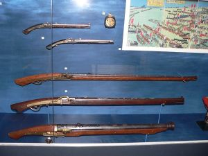 Japanese matchlocks from the Edo Period. Courtesy of the Wikimedia Foundation.