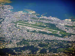 Futenma Air Station, one of the American bases on Okinawa. Futenma is one of the largest and most controversial base sites owing to its proximity to centers of civilian population.