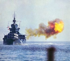 The New Mexico-class battleship USS Idaho bombarding Okinawa during the battle.