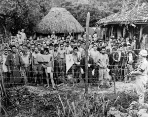 Civilian POWs on Okinawa. Before capture, Okinawans were led to expect brutal treatment at the hands of the Allies.
