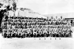 The commanders of the Japanese 32nd Army, which would be annhilated during the Battle of Okinawa. Every man in this photograph would die fighting the United States.