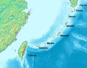 A map showing the location of the Ryukyu Islands relative to China and Japan.