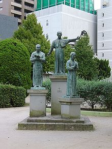 This statue in Kagoshima depicts Francis Xavier (center) with Anjiro, the Japanese Christian convert who first suggested he come to Japan, on the left. The figure on the right is a second Japanese convert generally known by his baptismal name Bernard.